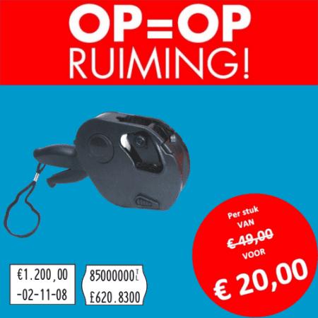 Opruiming - MOTO - 2 regel - prijstang - prijsetiket - prijs - prijzen - beprijzen