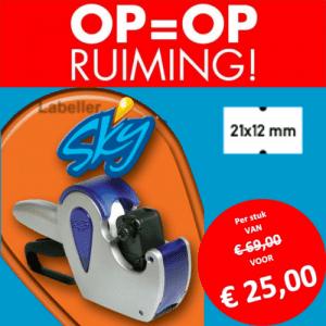 Opruiming - SKY - 1 regel - prijstang - prijsetiket - prijs - prijzen - beprijzen - punch hole