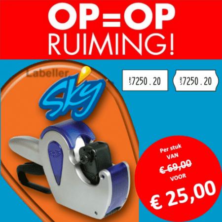 Opruiming - SKY - 1 regel - prijstang - prijsetiket - prijs - prijzen - beprijzen