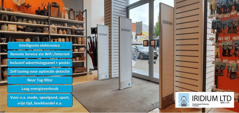 Artikelbeveiliging - Iridium - Omega - plexi - plexiglas - advertising panel - detectiepoortjes - rf - radio frequent - wifi - intelligent - self adjust