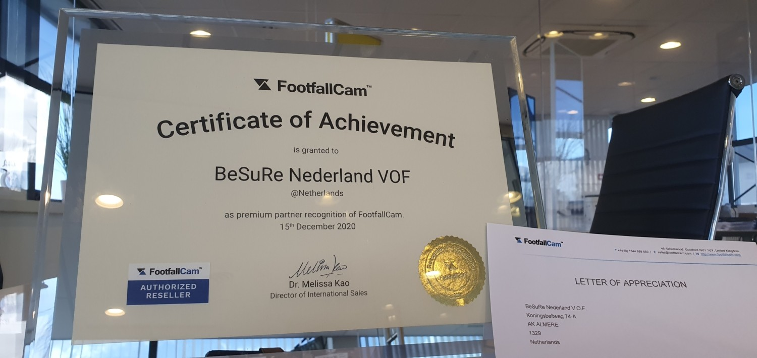 Certificate of Achievement FootfallCam - Premium Partner - Authorized Reseller
