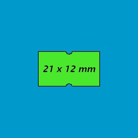 prijsetiket 21x12 punch hole fluor groen