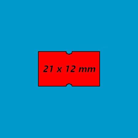 prijsetiket 21x12 punch hole fluor rood