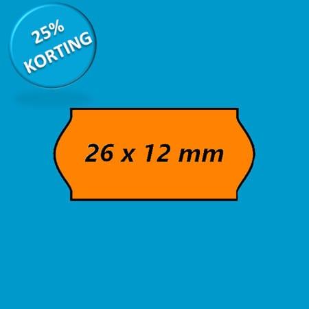 prijsetiket 26x12 golf oranje