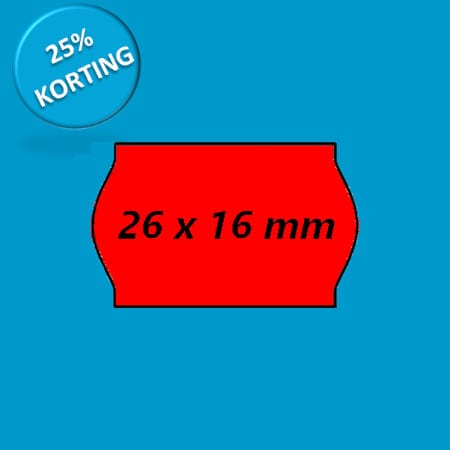 prijsetiket 26x16 golf rood
