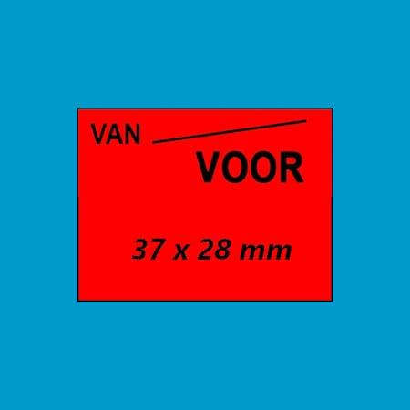 Prijsetiket | 37 x 28 mm | rechthoek | permanent | fluor rood - VAN/VOOR